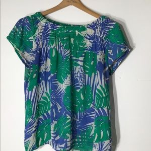 Loft Large tropical blue green top